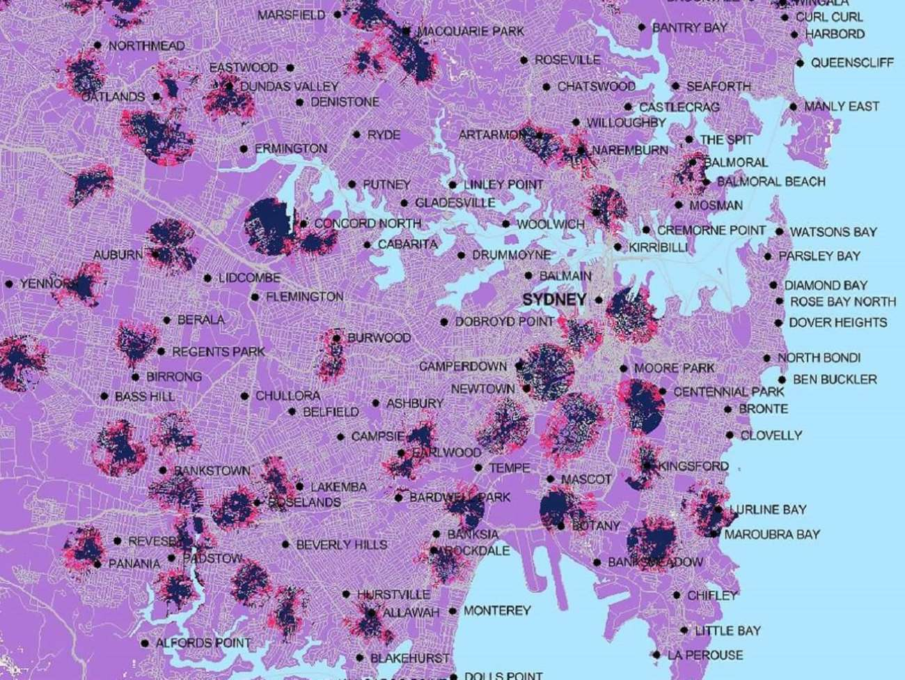 Optus 5G coverage map for Sydney